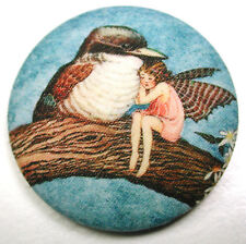 Fairy & Kookaburra  Fabric Covered Button  1 & 1/2 inch FREE US SHIPPING