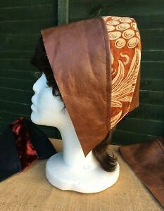 Leather & Velvet Medieval Cap / Hat. Plain Leather also available Steampunk. NEW