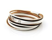 Real Leather White Black Wrap Bracelet With Three circles Magnetic Clasp 7 inch