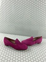 Stuart Weitzman Pink Suede Square Toe Slip On Flat Loafers Women's Size 7.5 M