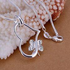 Moda De Mujer Plata De Ley 925 Cadena Corazón De Mariposa Collar Con Colgante TW