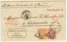 France cover 1866 Bordeaux to Valparaiso (CH) - Steamer