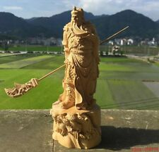 CHINESE 100% hand carving big wood God of Wealth Guangong guanyu & sword statue