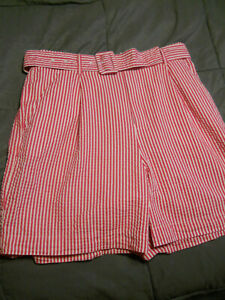 A New Day, Women's Red Striped Belted High-rise Shorts, Sz XS,S,M,L,XL,XXL (B327