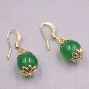 GP 18K Green Jade Earrings / Heating Jade Luck Ball Dangle Earrings 30x9mm