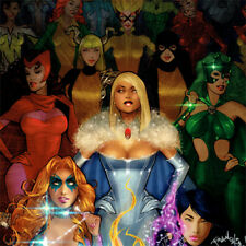 X-MEN White Queen ART PRINT Scarlet Witch SIGNED Franchesco PSYLOCKE Dazzler NEW