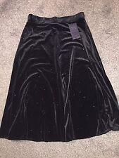 M&S Black Velour Sparkly Skirt Elasticated Waist BNWT Size 14
