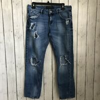 Zara Cropped Boyfriend Jeans Womens Sz 4 Distressed Destroyed Holes Ripped