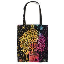 Elephant Tree of Life Dyed Cotton Shopping Bag Handmade India Hippie Festival