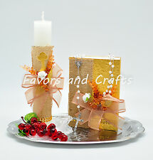 Gold First Communion Candle Set Spanish Boys Girls Gift Vela De Primera Comunion