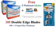 ^100 Gillette Double Edge Sterling Classic Metal Safety Razor 5 Platinum Blades