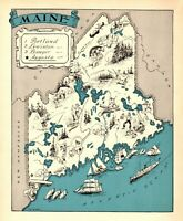 1930s Antique MAINE State Map RARE Animated Picture Map of Maine BLU 7742