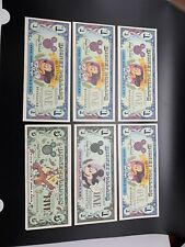 Disney Dollars Lot 5 1$s And 1 5$ AA Serial Numbers Uncirculated