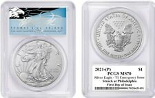 2021-(P) $1 Silver Eagle MS70 PCGS T1 Emergency Issue FDOI T Cleveland Blue