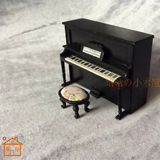 Upright Piano With Bench miniature dollhouse furniture wooden 1-12 scale #Black