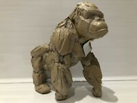 Large Driftwood Style Silver Back Gorilla Ape Ornament Figurine Gift Present