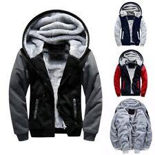 Men Winter Warm Sherpa Fleece Hoodie Coat Zip Up Jacket Fur Lined Hooded Outwear