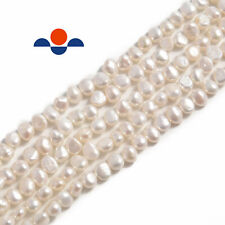 """White Fresh Water Pearl Center Drill Nugget Beads 4mm 6mm 8mm 10mm 14"""" Strand"""