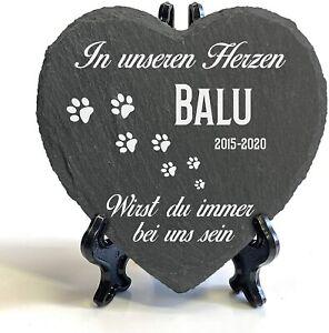 Herz Tiergrabstein Grabstein Gedenktafel Schiefer Stein Gedenkplatte Katze 2021