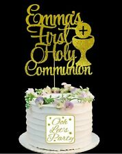 137. Holy Communion Cake Topper, Choose Your Name & Colour, Cake Decoration