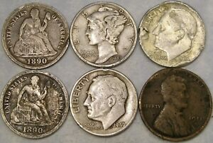 LOT OF 6 CULL COINS LIBERTY SEATED MERCURY ROOSEVELT SILVER DIMES & WHEAT PENNY