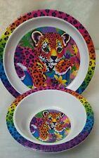 Vintage Lisa Frank Hunter Rainbow Leopard Cub Melamine Childrens Plate and Bowl