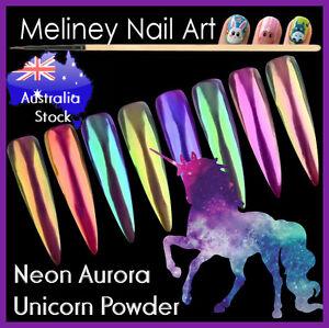 Neon Aurora Unicorn Powder Duochrome Mirror Chameleon Multi Chrome Nail art