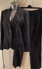 M & S Black Linen Blend Trouser Suit Blazer Size 14 Reg Trousers Size 12 Long