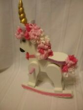 "Beautiful Redone & painted & decorated rocking Unicorn. Fits 11-14"" Dolls"