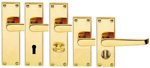 Polished Brass Victorian Straight Door Handles LOCK, LATCH, BATHROOM or PRIVACY