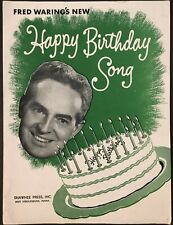 """1950 Fred Waring """"Happy Birthday Song"""" Advertising Sheet Music Green Giant"""