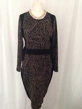 Womens  Black Animal Print Work Office Business shift Dress Matalan Size 18