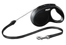Flexi Vario Classic Black Retractable Tape Lead For Small dogs 5m