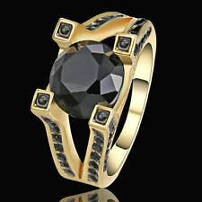 Size  6 Vintage Round Cut Black Sapphire Ring Yellow Rhodium Plated Jewelry