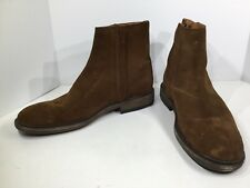 Frye Chris Mens Size 8.5 Brown Suede Casual Inside Zip Ankle Boots Shoes FB-412