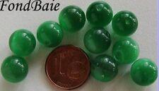 10 perles Vert Emeraude RONDES 10mm verre OEIL DE CHAT DIY Bijoux déco