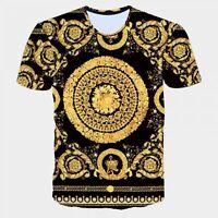 New Vintage T Shirt Men/Women Baroque Shirt Mens Striped Tee Shirts Homme