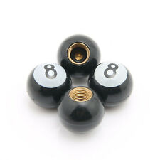 4 Pcs Tire Air Stem Valve Cap Black POOL 8 Billiard Ball For Car Motorcycle Bike