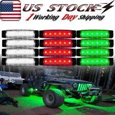 12X 6 Led Red/White/Green Rock Lights For Jeep Atv Utv Offroad Under Body Light