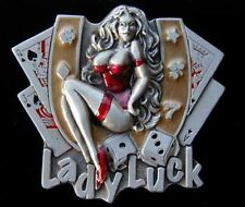 LADY LUCK GAMBLING BELT BUCKLE WITH HORSESHOE DICE AND CARDS NEW!