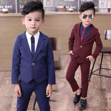 3PCS Kids Toddler Boy Formal Suit Coat+Pant+Shirt Outfit Set Clothes For Wedding