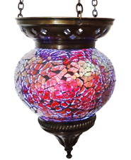 Crushed Glass Medium Turkish Moroccan Mosaic Hanging Candle Holder Hand Made