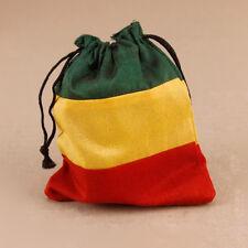 Rasta-Look Red Green Yellow Drawstring Pouch Hippy Boho Coin Purse Rastafarian