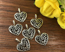 15pcs Heart Tibetan Silver Bead charms Pendants DIY jewelry 16x14mm J148