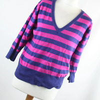 Atmosphere Pink Striped Cotton Blend Womens Jumper Size 18