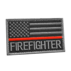 Firefighter Thin Red Line Fire Rescue American subdued US flag cap patch