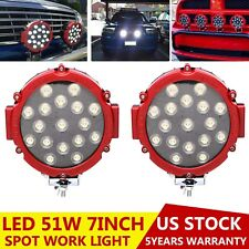 2x Round 7inch 51W Led Work Light Offroad Tractor ATV 4WD Bumper Fog Pods