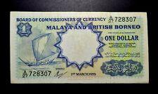 $1 Malaya British Borneo 1959 note (Waterloo & sons)  *13