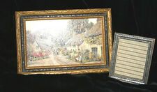 2 Antique Vintage Small Art Crafts Gold and Pewter carved Picture Frames