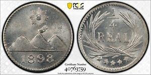 GUATEMALA , 1/4 REAL 1898 - PCGS MS 66 ( P1 ) , RARE
